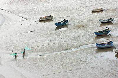 China Beach Photograph - Fishermen Carrying Fish Net And Fishing by Keren Su
