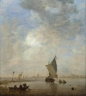 Net Painting - Fishermen Hauling A Net by Jan van Goyen