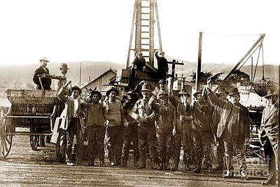 Photograph - Fishermen Holding Squid Monterey Fishermans Wharf Calif. Circa 1915 by California Views Archives Mr Pat Hathaway Archives