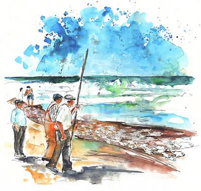 Art Miki Drawing - Fishermen In Praia De Mira 02 by Miki De Goodaboom