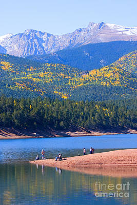 Steven Krull Royalty-Free and Rights-Managed Images - Fishermen on Crystal Lake on Pikes Peak by Steven Krull