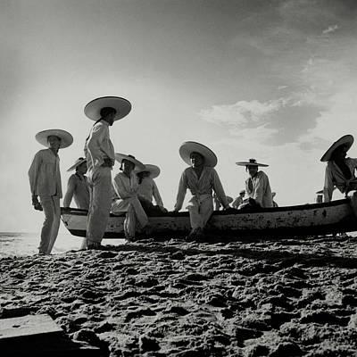 Fishermen On The Beach Of Pia De La Cuesta Art Print