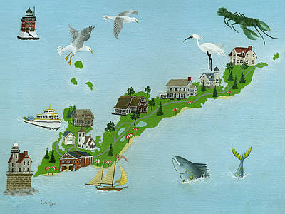 Fishers Island Map  Original by Robert  Logrippo