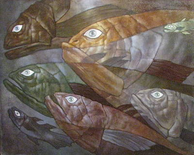 Origins Of Life Painting - Fishes by Alexandra Schastlivaya