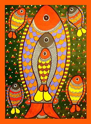 Painting - Fishes-madhubani Painting by Neeraj kumar Jha
