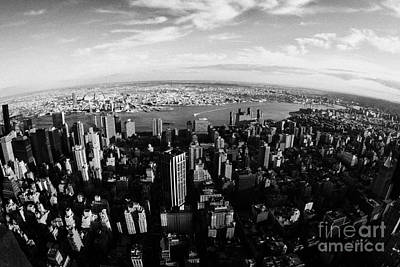 Manhaten Photograph - Fisheye Evening View Of Manhattan East Towards East River And Queens New York City by Joe Fox