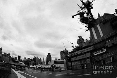fisheye shot of the flight deck carrier island bridge and aircraft of the USS Intrepid new york Art Print
