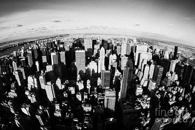 Fisheye View North Towards Central Park Manhattan New York City Usa Art Print by Joe Fox