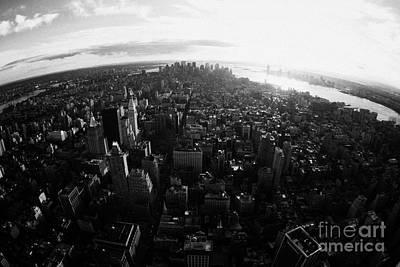 Fisheye View Of Sunset Over Lower Manhattan And Hudson River New York City Art Print by Joe Fox