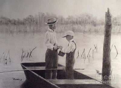 Drawing - Fishin' Buddies by Mary Lynne Powers