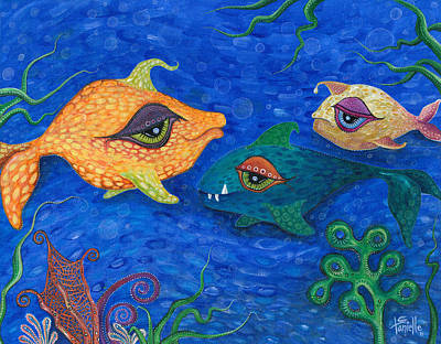 Fish Underwater Painting - Fishin' For Smiles by Tanielle Childers