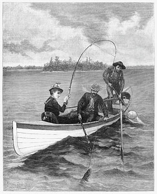 Pole Drawing - Fishing, 1888 by Granger