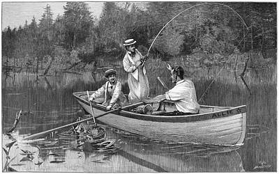 Pole Drawing - Fishing, 1890 by Granger