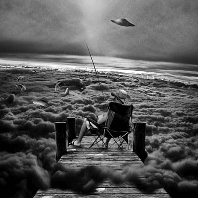 Fishing Above The Clouds Grayscale Art Print by Marian Voicu