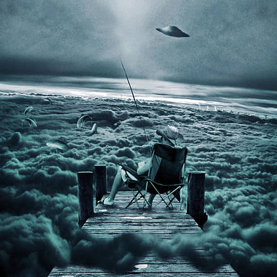 Surrealistic Digital Art - Fishing Above The Clouds by Marian Voicu