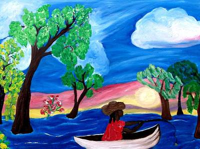 Fishing Alone 2 Art Print by Mildred Chatman