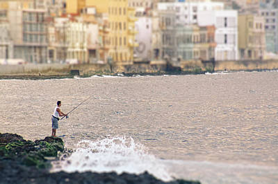 Atlantic Avenue Photograph - Fishing Along The Malecon.. by A Rey