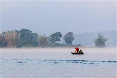 Dinghy Photograph - Fishing At Dawn by K Jayaram