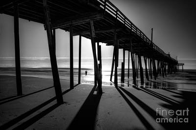 Frisco Pier Photograph - Fishing At Frisco Outer Banks Bw by Dan Carmichael