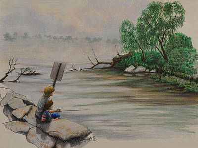 Fishing At Lake Palourde Art Print by Peter E Malbrough