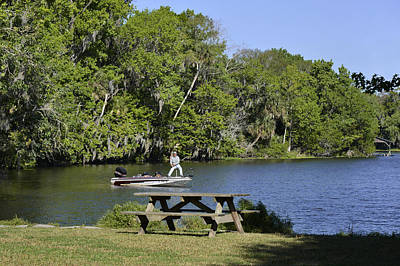 Fishing At Ponce De Leon Springs Fl Art Print by Christine Till