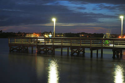 Evening Scenes Photograph - Fishing At Soundside Park In Surf City by Mike McGlothlen