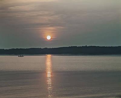 Clarks Hill Lake Photograph - Fishing At Sunrise by Michael Whitaker
