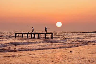 Fishing At Sunset. Art Print by Alexandr  Malyshev