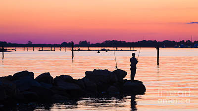 Photograph - Fishing At Sunset by Edward Fielding