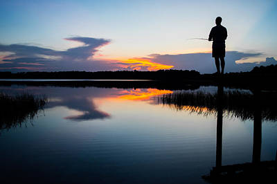Fishing At Sunset Art Print by Parker Cunningham