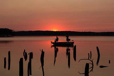Fishing At Sunset Art Print by Steven Olson