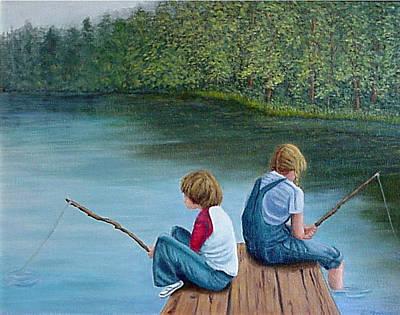 Fishing At The Lake Art Print