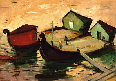 Little People Painting - Fishing Barges On The River Sugovica by Emil Parrag