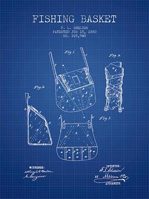 Reel Digital Art - Fishing Basket Patent From 1880 - Blueprint by Aged Pixel