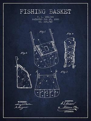Sara Habecker Folk Print - Fishing Basket Patent from 1880 - Navy Blue by Aged Pixel