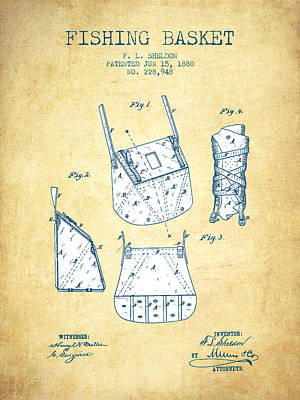 Reel Digital Art - Fishing Basket Patent From 1880 - Vintage Paper by Aged Pixel
