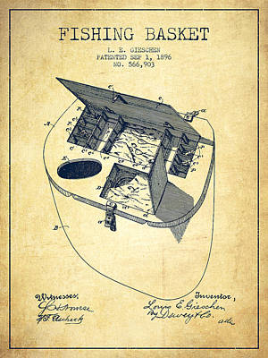 Fishing Drawing - Fishing Basket Patent From 1896 - Vintage by Aged Pixel