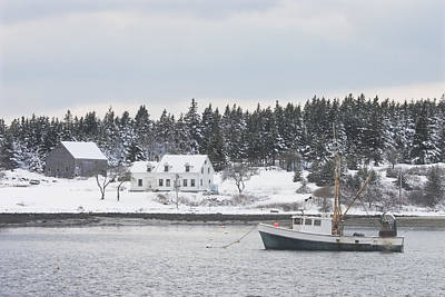 Winter In Maine Photograph - Fishing Boat After Snowstorm In Port Clyde Harbor Maine by Keith Webber Jr