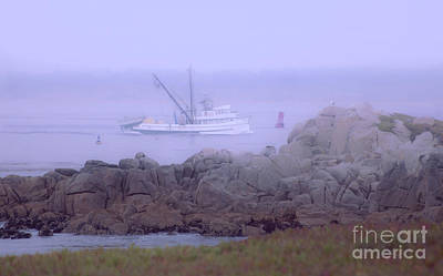 Photograph - Fishing Boat  Along Monterey Bay Coastline On A Calm Foggy Misty Morning by Jerry Cowart
