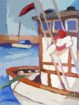 Fishing Harbour Painting - Fishing Boat Astra by Lutz Baar