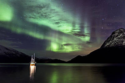 Aurora Borealis Photograph - Fishing Boat by Frank Olsen