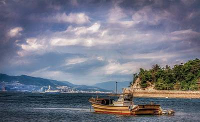 Floating Torii Photograph - Fishing Boat by Gary Fossaceca