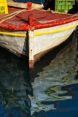 Fishing Boat In Greece Art Print by Mike Santis