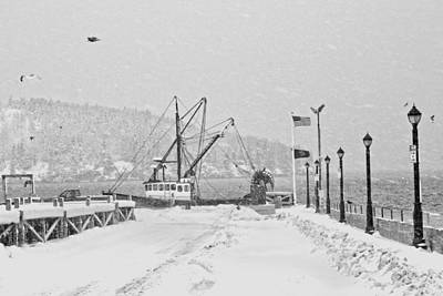 Photograph - Fishing Boat In Snowstorm Bar Harbor Maine by Keith Webber Jr
