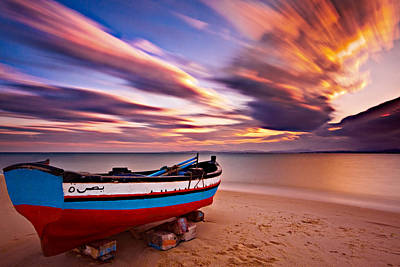 Photograph - Fishing Boat On A Beach At Sunset / Hammamet by Barry O Carroll