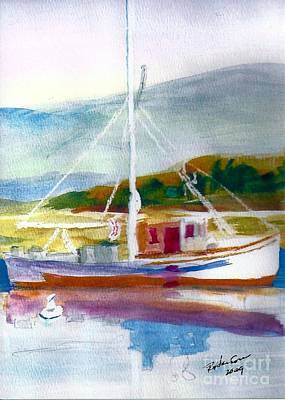 Boats In Water Mixed Media - Fishing Boat On Puget Sound by Ruthann  Hanson