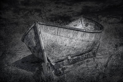 Fishing Boat On Shore In Black And White Art Print by Randall Nyhof