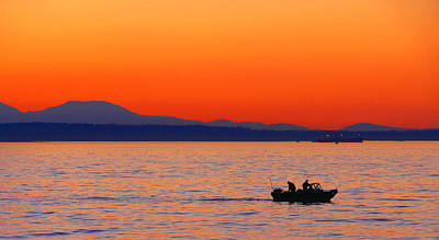 Photograph - Fishermen At Sunset Puget Sound Washington by Jennie Marie Schell