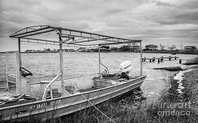 Fishing Boat With Catch In Black And White Art Print by Kathleen K Parker