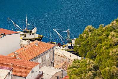 Photograph - Fishing Boats Aerial View In Novigrad Dalmatinski by Brch Photography
